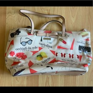 Kate Spade canvas tote with leather straps
